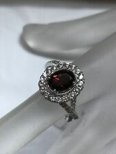 Sterling Silver Red& White Zircon 2.85 Ctw Ring Sz 8