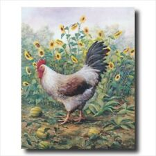 Rooster Chicken Sunflower Wall Picture Art Print