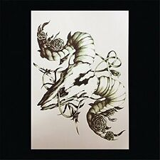 4 Designs Black Temporary Tattoo Stickers Water Transfer- Totems, Eyes, Animals