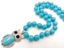 New 10mm Blue Turquoise Round Bead & Owl Turquoise Pendant Necklace 18''