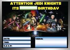 STAR WARS BIRTHDAY PARTY INVITATIONS INVITES  WITH OR WITHOUT ENVELOPES JEDI