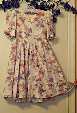 Vtg EASTER Dress handmade w/Floral Print Taffeta & underskirt size 7- 8, PREOWN