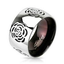 316L Stainless Steel Women's Wide 11mm Rose Flower Ring Size 6-9