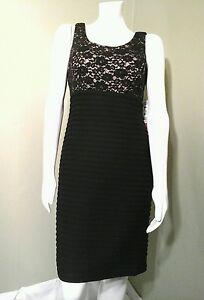 R & M Richards Black & Nude Floral Lace Sheath Dress~ Size 12P