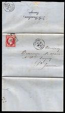 Francia 16 C, 80 C. Napoleone su lettera Limoges 12.3.1861, piena di contenuto!