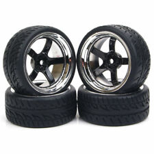 4Pcs Flat Rubber Tires & Wheel For HSP RC 1:10 Racing Rally On-Road Model Car