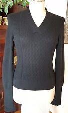 CLASSIQUES ENTIER 100% Cashmere Black V Neck Cable Ribbed Knit Sweater - sz S