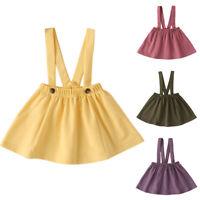 Kid Girls Suspender Skirt Overalls Dress Summer Casual Solid Stretch Short Dress