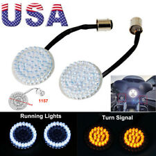 US 2X 2'' Bullet 1157 LED Amber White Turn Signal Running Lights For Harley Dyna