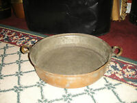 Antique Primitive Copper Over Metal Double Handle Pan Middle Eastern Country