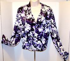 NEW $36 Tag APT 9 Drape Front Hi LOW Purple Floral XS LONG SLEEVE Blouse SILKY
