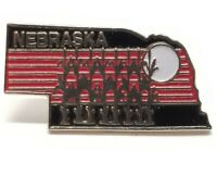Vintage Nebraska Corn State Shaped Souvenir Lapel Hat Pin Back Tack Red & Black
