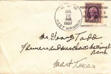 1937, USS West Virginia, BB-48 to Mart, TX, Commerical Mail (N3789)