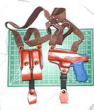 Tagua SH4-323 LH Brown Leather Shoulder Holster Dual Magazine Pouch Glock 20 21
