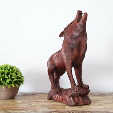 Wolf Statue Wood Sculpture Carving Decoration Animal Woodcarving Dire Wolf Gift
