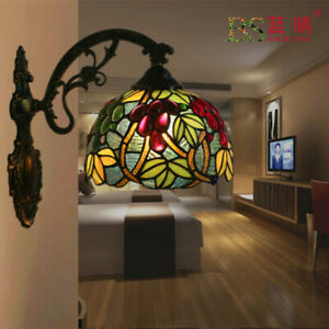 Tiffany Style Stained Glass Wall Sconce Wall Lamp for Coffee Rom Bedroom Fixture