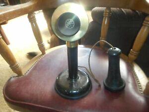 ANTIQUE STROMBERG-CARLSON BRASS CANDLESTICK TELEPHONE MISSING EAR CRADLE REFURB