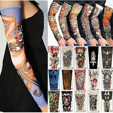 6pcs Nylon Fake Tattoo Sleeves Arm Stretch Sun Skin Protection Cycling Halloween