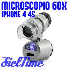 MICROSCOPIO INGRANDISCE 60x VOLTE PER IPHONE 4S 4 LENTE INGRANDIMENTO ACCESSORI
