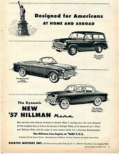1956 Rootes Motors Print Ad for 1957 Hillman Minx 3 Way Convertible and Husky