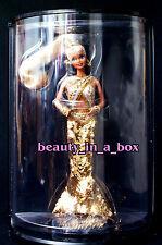 GOLD Barbie Doll in SHIPPER Bob Mackie Designer Series 1990 Boa Case Sketch NRFB