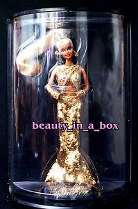 GOLD Barbie Doll Bob Mackie Designer Series 1990 Boa Case Sketch