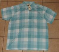 NEW NWT Mens 2XL XXL 50 / 52 Casual or Dress Blue Plaid Button Down Shirt HAGGAR