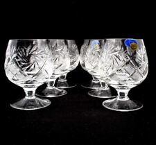 Set of 6 Russian Cut Crystal Brandy Glasses 7 oz - Soviet USSR Cognac Snifters