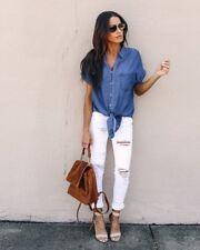 UK Womens Short Sleeve Casual Denim Shirt Blouse Summer Loose Button Jeans Tops