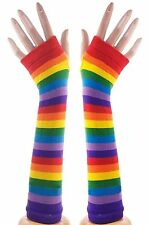 Fingerless Gloves Long Arm Warmer Cosplay Stretch Gloves Rainbow Punk Gothic