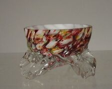 Antique Victorian Splatter Glass Molded Glass Master Salt Murano Venini Art