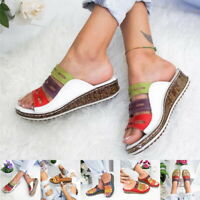 Womens Ladies  Mule Sandals Casual Summer Comfort Wedges Heel Strap Shoe Sizes