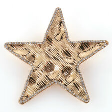Brosche Stern Metall Gold Strass Tuch Schal Jacke Tasche Clip Pin Anstecknadel