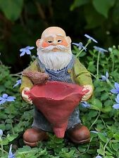 Miniature Dollhouse FAIRY GARDEN ~ Feeding Friends Gnome Pick with Bird ~ NEW