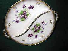 Lefton Divided Relish Dish Purple Flowers Gold Trim