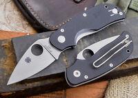 "Spyderco Cat Folding Pocket Knife 2 ½"" 440C Steel Plain Blade Black G10 Handle"