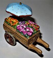 Limoges France Box - Flower Cart & Umbrella - Wheelbarrow & Floral Display - Le
