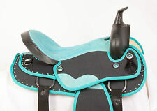 "USED 16"" TURQUOISE BLACK SYNTHETIC LIGHT WESTERN PLEASURE TRAIL HORSE SADDLE"