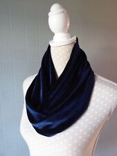 Navy blue velvet snood/cowl, blue velvet loop scarf, Christmas gift,