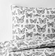 Ikea SOMMARMALVA Full/Queen Duvet Cover w/2 Pillowcases Bed Set White Butterfly