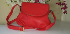 Fashion Red Soft PU Leather Flap Bag Cross Body Shoulder Purse - Looks New