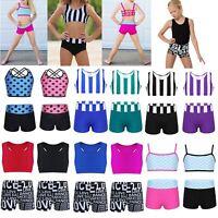 Girls Kids Dance Gymnastics Dancewear Top Bra+Shorts Ballet Leotard Swim Costume