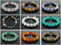 Handmade 12mm Adjustable Natural Gemstone Round Beads Bracelet Healing Reiki