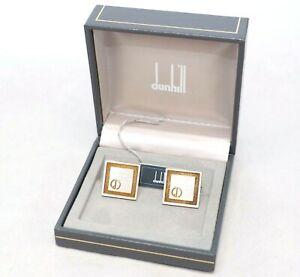 DUNHILL cufflinks shirt Clip Pin Bar clasp set gold boxed Men vintage accessory