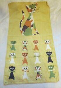 Vintage Tammis Keefe kitchen tea towel gold w/ cats kittens Fallani & Cohn linen