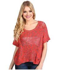 Fox Blazed Sweater Melon Women's Pinkish Orange with Grey Size Small D31 NWT