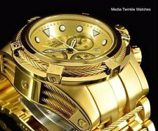 New Invicta 52MM Bolt ZEUS Swiss Quartz 18k All Gold Tone Cables Bracelet Watch