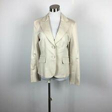 Ann Taylor 6 Blazer Jacket Beige Pinstripe 2 Button Flap Pockets Topstitching