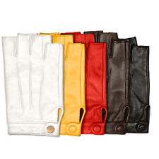 Women Leather Driving Gloves Half Finger Finger Less Texting Touch Screen Gloves
