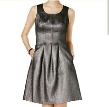 NWT Nine West Women Silver Cocktail Metallic Above Knee New Years Party Dress 14